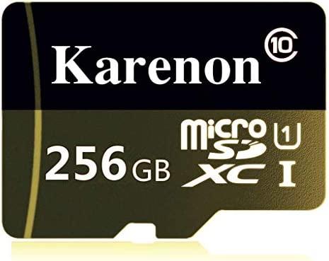 Karenon Tarjeta Micro SD 256 GB, microSDXC 256 GB Class 10 Tarjeta de Memoria + Adaptador (ES135-BV) (256GB)