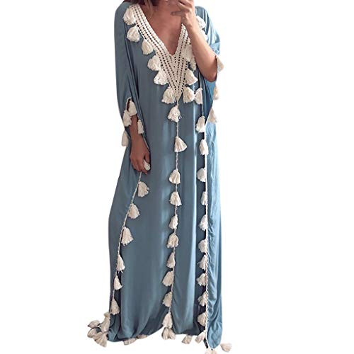 Peacur Women 3/4 Sleeve Dresses Summer Bohemia Ethnic Style Tassel Loose Casual Holiday Beach Party Long Dress (Blue, S)