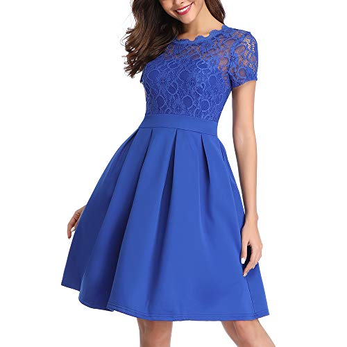 Vintage A-Line Lace Cocktail Dresses for Women Short Summer Dress for Bridesmaid, Bright Blue, M