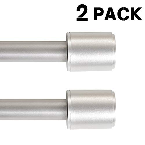 H.VERSAILTEX Window Treatment Telescoping Curtain Rods with Finials, 1 Inch Diameter, Adjustable from 72 to 144 Inch, Nickel, 2 Pack