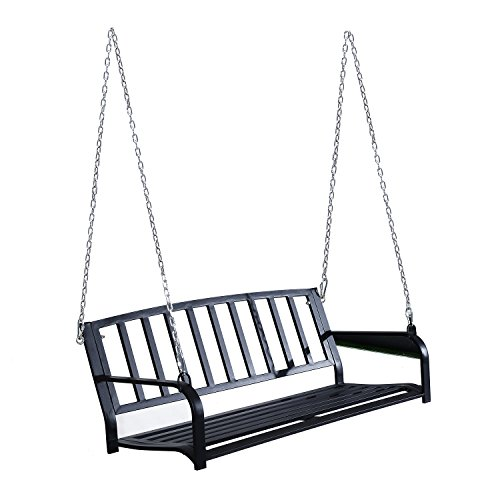 Outsunny 50' 2 Person Weather Resistant Steel Outdoor Porch Bench Swing - Black