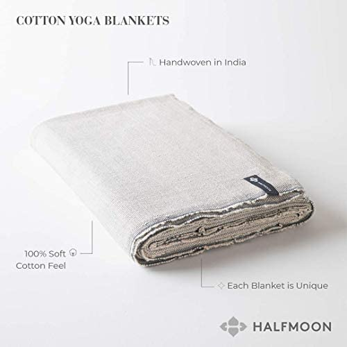 """Halfmoon Classic 100% Cotton Yoga Blanket: Ideal for Meditation, Travel, Camping, Throw Blanket, or Yoga Rug [60"""" x 80""""] - Carbon Weave"""