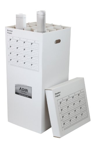 File Plan - Adir Corrugated Cardboard 16 Roll File (for Rolls up to 37 Inches Long) Upright Storage Cabinet