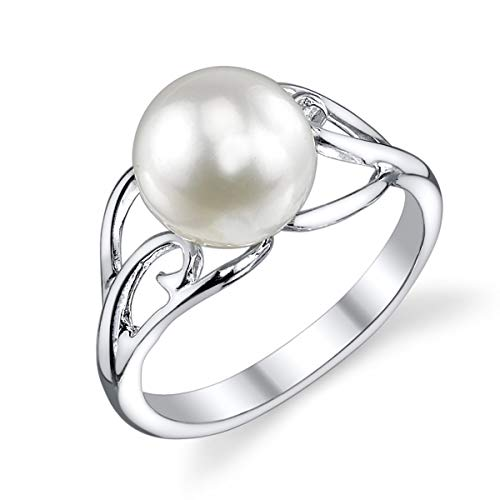 THE PEARL SOURCE 8-9mm Genuine White Freshwater Cultured Pearl Sandy Ring for Women
