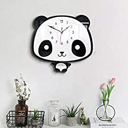 Yu2d Nordic Style Panda Wall Clock Silent Wooden Clock for Home Living Room