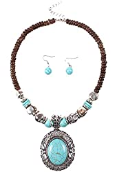 Qiyun (TM) Chunky Turquoise Blue Pendant Wood Beaded Chain Necklace Tibet Necklace Earrings
