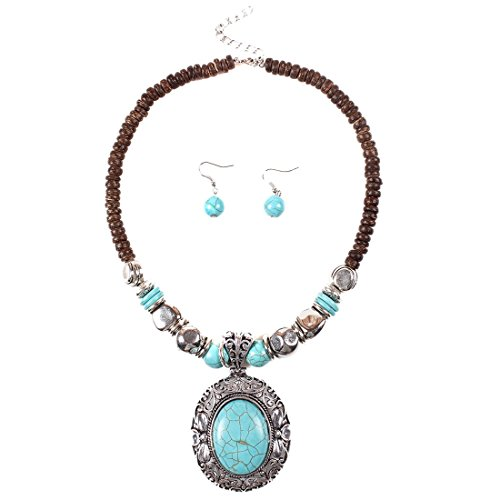 QIYUN.Z Chunky Turquoise Blue Pendant Wood Beaded Chain Necklace Tibet Necklace Earrings (Costumes For Cheap)