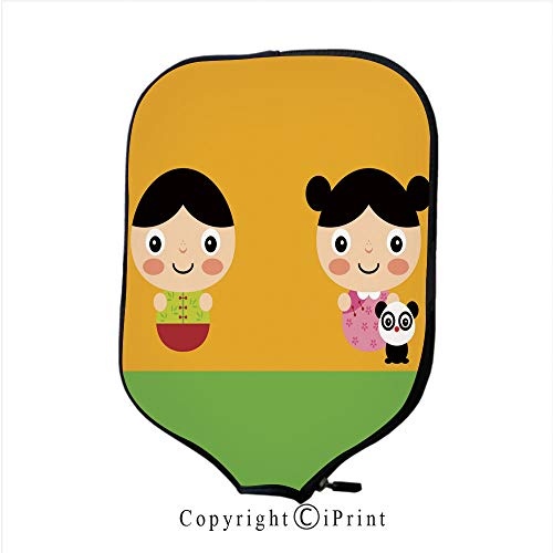 Premium Neoprene Material,Soft,Thick Enough Protector Pickleball Paddle Cover,Cute Chinese Kids Boy Girl Costume Vector Set(Size:8.23