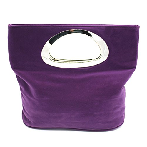 - Women Cocktail Prom Party Handle Bag Suede Clutch Evening Purse Wedding Handbag (purple)