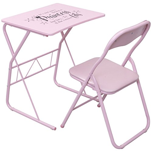 Costzon Kids Table Chair Set, Princess Table Set, Study Desk Folding Chair for Girls, Pink (Chair Princess Pink)