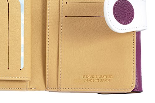 Elegantly High Handmade Leather Boxed Genuine Wallet Spain in for White Lila Purse Women Quality pfw0qvdR