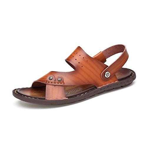 Sandali di sandalo delle fibre di estate degli uomini di estate Scarpe da spiaggia all'aperto Beach Sandali freddi Doppio scopo, giallo, UK = 9.5, EU = 44