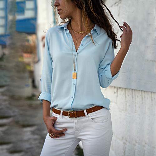 Casual Mujer Camiseta Azul Blusa De ❤️ C Hebilla Camisetas Camisas Niña Amlaiworld Cuello Vestir Manga Solapa Larga Para Casual Alto R5fwnq