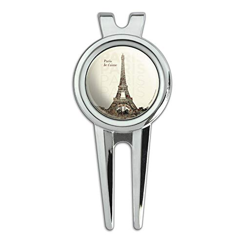 Paris, Je T'Aime I Love You Eiffel Tower City Map Golf Divot Repair Tool and Ball Marker
