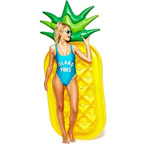 AMGlobal Pineapple Float, Pool Floats, Inflatable Pineapple Pool Float Raft, Summer Outdoor Pool Floats, Giant Floatie Lounge Toy For Adults, Kids For Fun