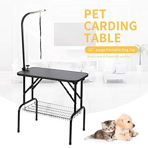 AYNEFY Small Pet Dog Grooming Table,Portable Non-Slip Waterproof Foldable Pet Grooming Desk with Arm & Storage Mesh Shelf