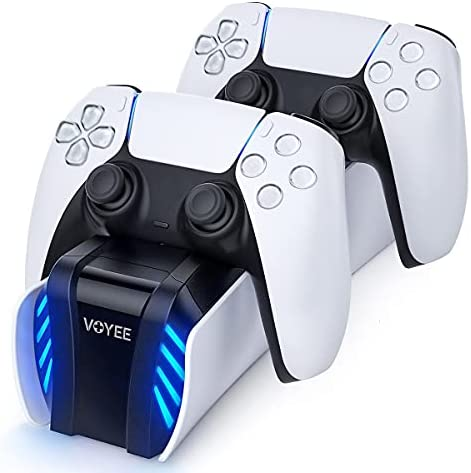 VOYEE Fast Charging Station Compatible with PS-5 DualSense Controller – Upgraded Charger Click-in Charging Dock for PS-5 Wireless Controller with LED Indicators