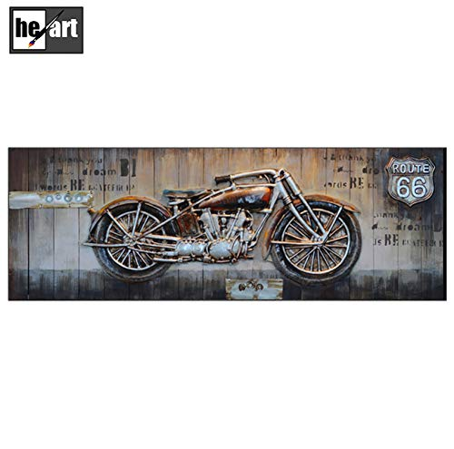 Blue Color Motorcycle Picture Artwork 3D Metal Art Paintings Retro Classic Cars Poster Home Wall Decorations Ready to Hang,D