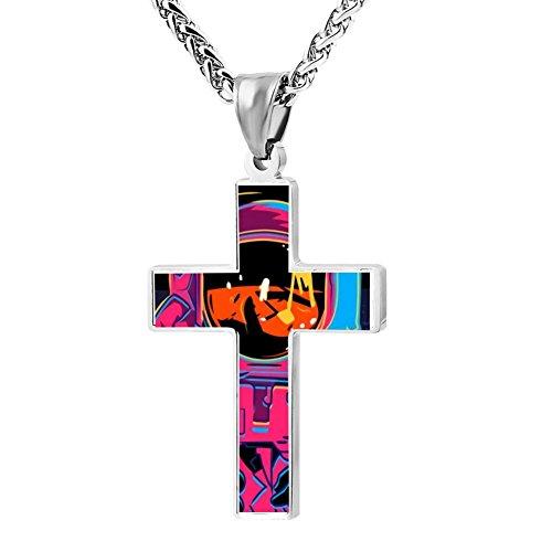 FollowC Cross Pendant Colorful Astronaut Jewelry Zinc Alloy Chain Necklace for Men Women, 24 -