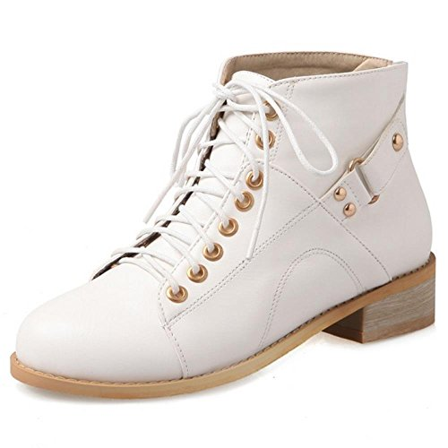 RAZAMAZA Women Comfort Combat Style Lace up Ankle Booties 2428 White 2U1Q1QT