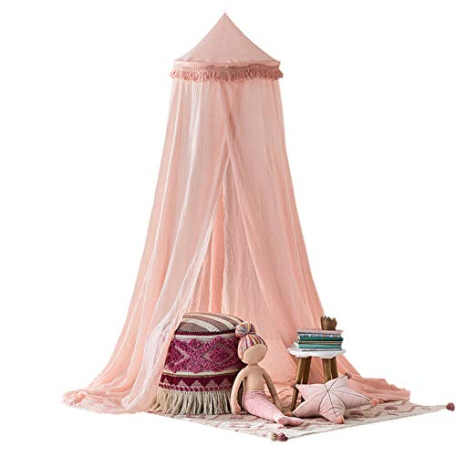 top0dream Summer Screen Repellant Netting Curtain Portable Hammock Bed Curtains Window Sills Mosquito Tents 240cm Kids Baby Room Bed Dome Curtain Canopy Chiffon Tassel Hung Mosquito Net - Pink