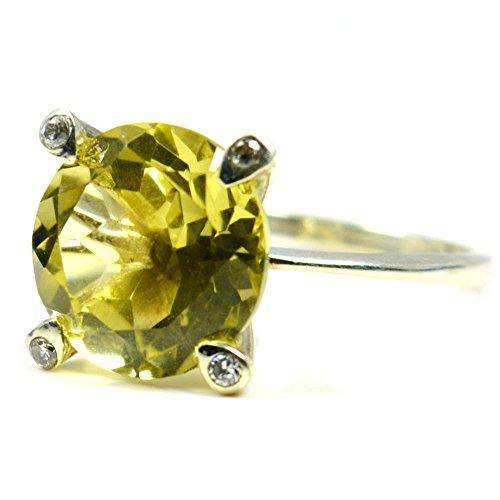 (Jewelryonclick Genuine Round Shape Lemon Quartz Silver Ring For Men With CZ Stone Size US 4 to 12)