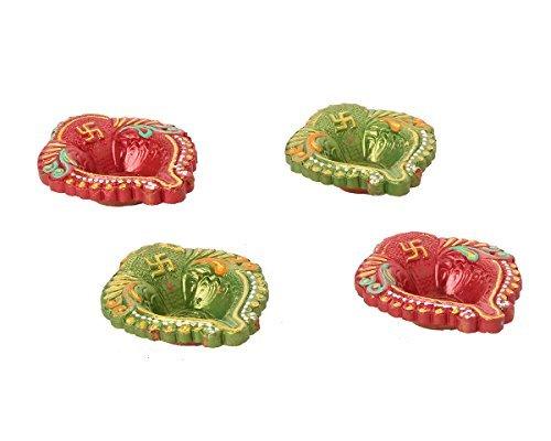 Set of 4 Handmade Decorative Diwali Clay Diyas for Diwali Decoration Terracotta Oil Lamps Diwali Gifts