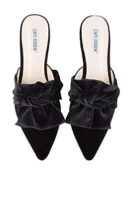 CAPE ROBBIN Women's Bow On Me Pointed Toe Flat, Black Velvet, 6