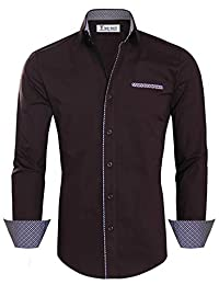 Tom's Ware Mens Premium Casual Inner Layered Dress Shirt TWNMS310-1-DBROWN-M-CA