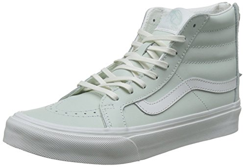Vans Unisex Sk8-Hi Slim Zip Leather Skate Shoes-Zephyr Blue-5.5-Women/4-Men