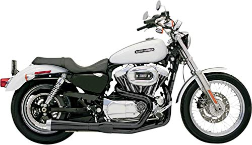 Bassani Xhaust 96-03 Harley XL1200C Road Rage 2-Into-1 Exhaust (Black/Short Upswept)