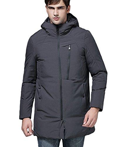 LvRao Men's Long Down Parka Hooded Parka Zipper, Pockets Winter Padded Puffer Jackets Overcoats Gray