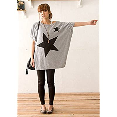 Aobiny Women Long Casual Star Blouse Loose Batwing Dolman Sleeve T-Shirt Tops