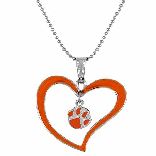 Pendant Heart Tigers Clemson Paw (Rosemarie Collections Women's Clemson University Tigers Heart Pendant Necklace)