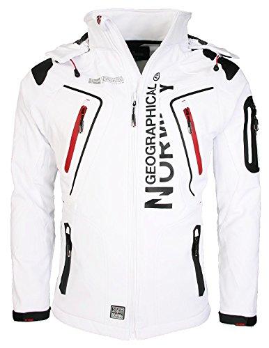 Geographical Norway Herren Softshell Funktions Outdoor Jacke wasserabweisend [GeNo-5-Weiss-Gr.L]