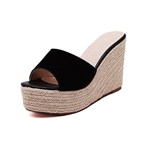 Wedge Black Heel Open Summer Heeled Women's Suede Sandals Shoes Back Toe fereshte Platform Peep High Slippers F1TwUPaq