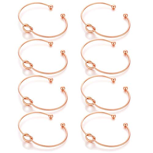 (AnotherKiss Bridesmaid Gifts Jewelry Love Knot Charm Bracelets for Women, Rose Gold Tone Set of 8 Pieces)