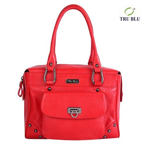 Blu Leather Bag - TRU BLU Women's Genuine Leather Hand Bag 20.5CM X 28.5CM X 15CM HAND HANDLE DROP – 20 CM Red
