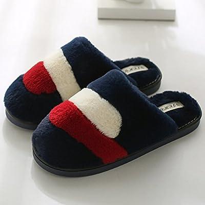 YMFIE Chaussons en coton d'hiver sol intérieur accueil plush chaussures chaudes
