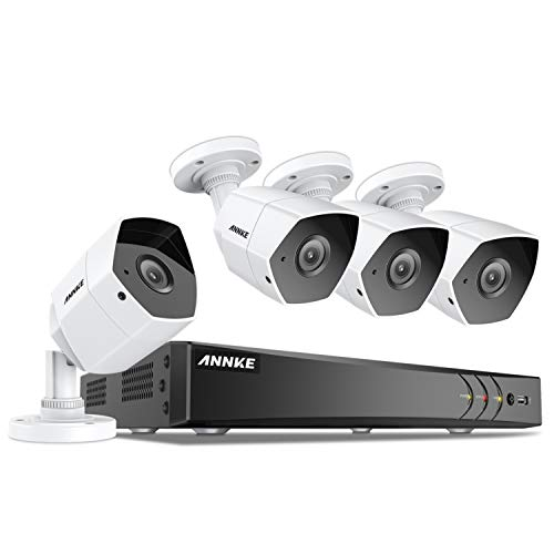 (ANNKE 3MP Extreme HD Security Camera System, 8-Channel H.264+ DVR and (4) 3.0MP (1920×1536P) Metal Casing Bullet Cameras , IP66 Weatherproof, Customize Motion Detection, NO Hard Drive)