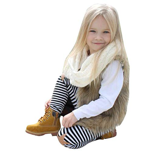 Toddler Baby Girls Kids Winter Warm Clothes Faux Fur Waistcoat Thick Coat Outwear Vest Tops 3-7 T (2-3 Years Old, Khaki)