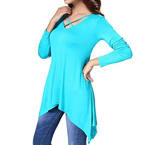 Bond Girl Costume Dress (JET-BOND Jersey Tunic Long Sleeves Cross Neck Top Blouse FS67 Deep V Loose Shirt (XL, Jade))