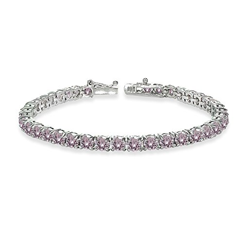 (GemStar USA Sterling Silver Pink 4mm Round-cut Classic Bracelet Made with Swarovski Crystals)
