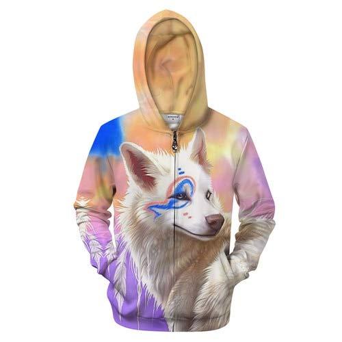 Ai Ya-weiyi Bunte Wolf Zip Hoodies 3D-Sweatshirt Männer Zipper Hoody Trainingsanzug Streatwear Harajuku Mantel Pullover Unisex