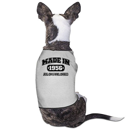 Skkoka Fashion Sleeveless Pet Supplies Dog Cat Clothes 60th Birthday T Shirt Made In 1956 Vintage Pet Apparel Clothing M Gray