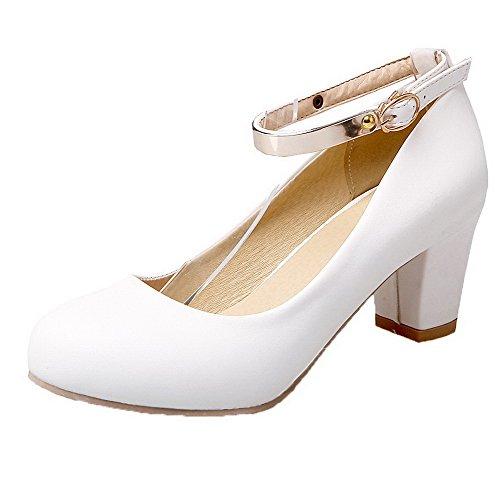 AgooLar Damen Schnalle Schließen Zehe PU Rein Mittler Absatz Pumps Schuhe Weiß