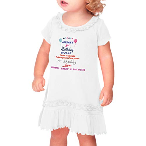 Rascal 100 Capsules - Personalized Custom Birthday First Birthday Time Capsule Taped Neck Toddler Short Sleeve Girl Ruffle Cotton Sunflower Dress - White, 6 Months