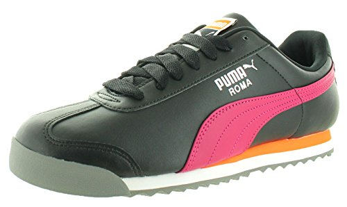 PUMA Men's Roma Basic Black/Vivacious Ankle-High Fashion Sneaker - 11.5M (Suede Puma Roma)