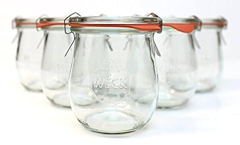Weck 762 Tulip Jelly Jar, SET of 6 - Tulip Shape