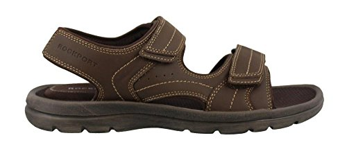 Rockport Men's Get Your Kicks Double Velcro Flat Sandal, Dark Brown Leather, 13 M US